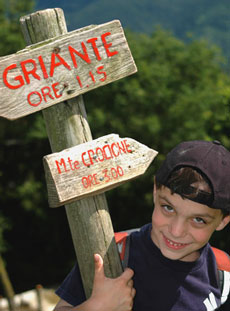 Sign showing way to Crocione and Griante