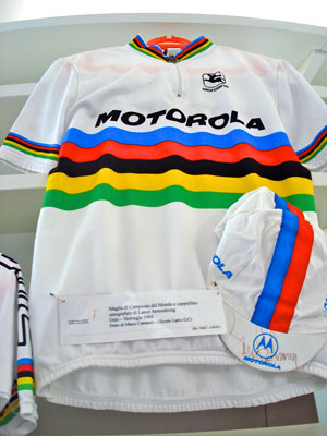 Lance Armstrong's winning cycling jersey from the 1993 World Championships in Oslo, Norway.