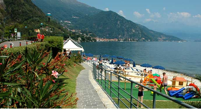 Beach on Lake Como near griante with people